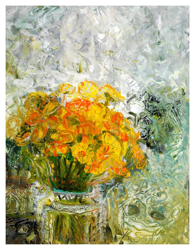 Yellow Flowers in a Crystal Vase / Kristal Vasolu Cicekler