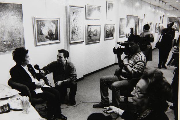Kristin Saleri being interviewed by Local TV