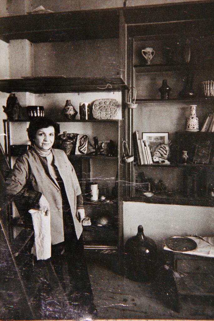 Kristin Saleri at her studio, in Saksi Sokak, Pangalti