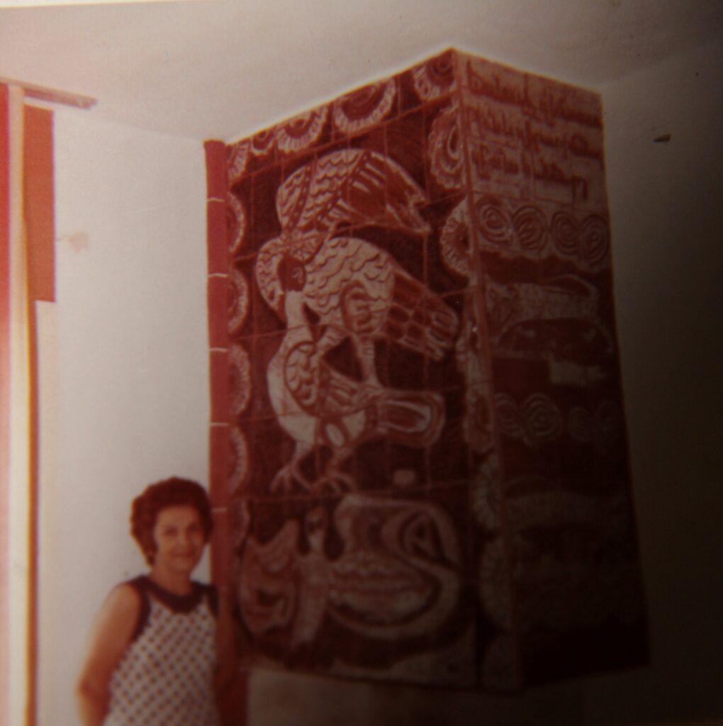 Kristin Saleri, in the background Caramic Mosaic depicting Armenian mythology