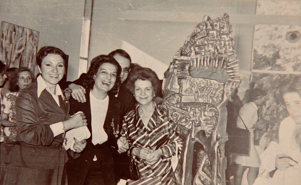 Bizim Gurup (Our Group) art exhibition, Zerrin Bolukbazi (second from left) Kristin Saleri (center) Istanbul 1969