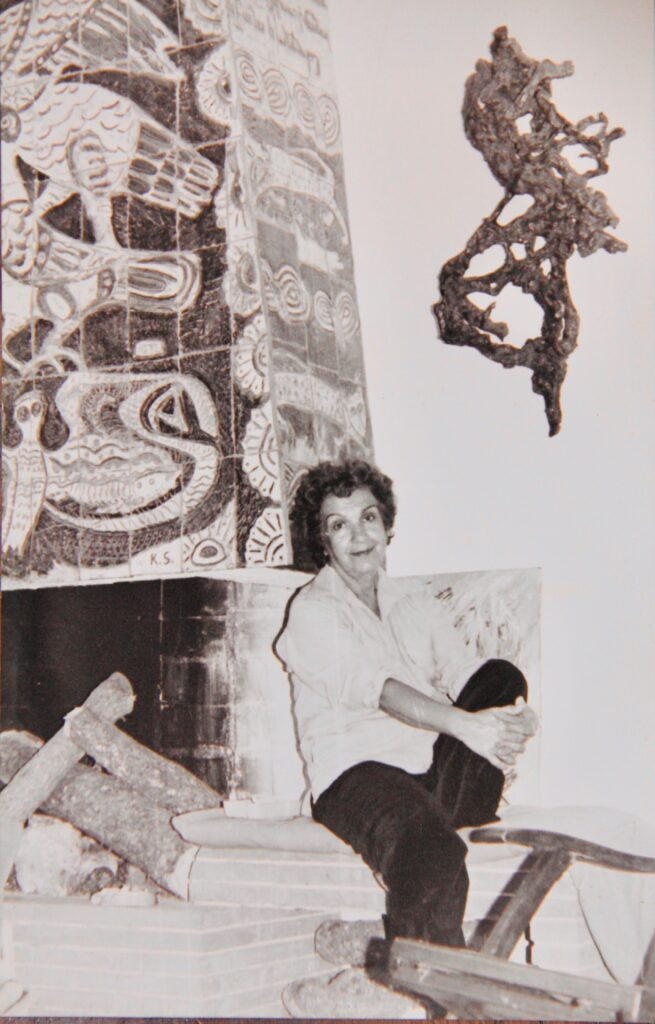 Kristin Saleri in front of Ceramic Mosai